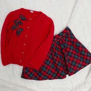 Janie & Jack Red Plaid Skirt & Cardigan Set
